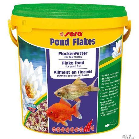 SERA Pond Flakes 10 л – Корм для мелких прудовых рыб, хлопья