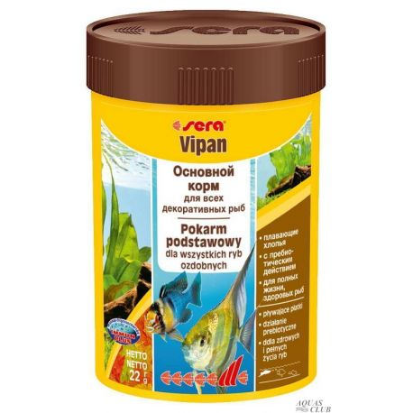 SERA Vipan 100 мл – Основной корм для всех видов рыб (22 г)